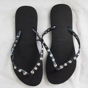 Havaianas Slim Black Silver Studded 41-42
